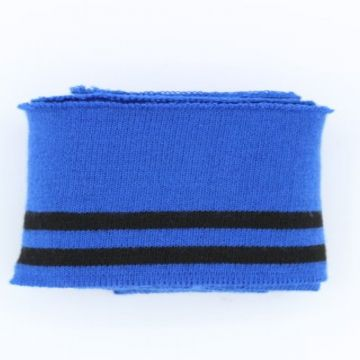 Manchetten Band / Boordstof - Blue/Black Stripes