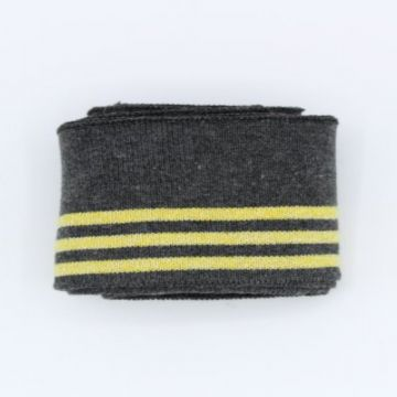 Manchetten Band / Boordstof - Grey/Yellow Stripes