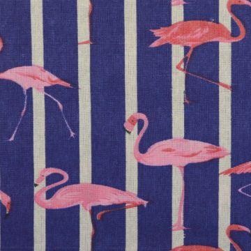 Katoenen Canvas - bloemen in blauw en roze