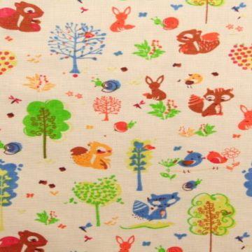 linnen (gordijn)stof met bosdieren