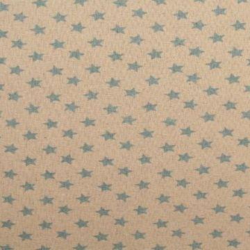linnen (gordijn)stof met blauwe sterren