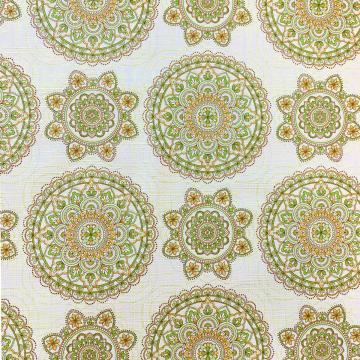 Mandala tafelzeil in de kleuren groen en abrikoos