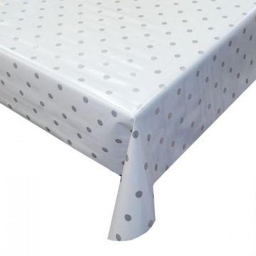 Tafelzeil - White/Silver Dots